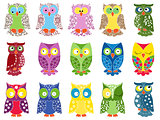 Set of fifteen colourful owls