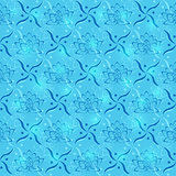 Blue Lotus Flower Geometric Seamless Pattern