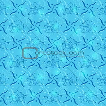 Blue Lotus Flower Geometric Seamless Pattern
