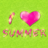Love Summer Background Banner with Heart Shape