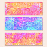 Banner Set with Colorful Modern Triangle Pattern