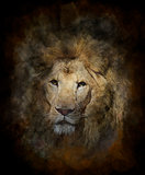 Watercolor Image Of Lion