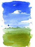 Summer landscape watercolor