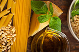 Italian basil pesto pasta ingredients