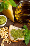 Italian basil pesto bruschetta ingredients