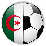 Algeria Flag with Soccer Ball Background