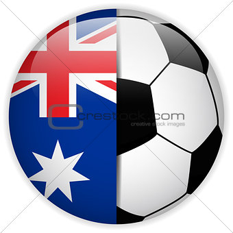 Australia Flag with Soccer Ball Background