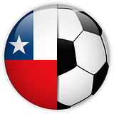 Chile Flag with Soccer Ball Background