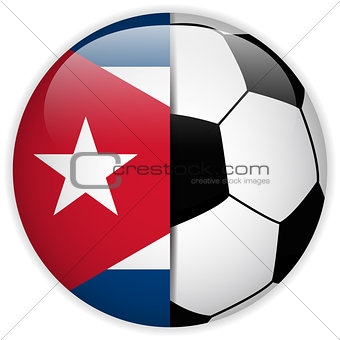 Cuba Flag with Soccer Ball Background