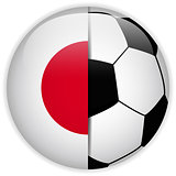 Japan Flag with Soccer Ball Background