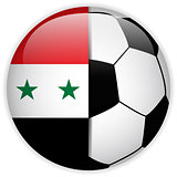 Syria Flag with Soccer Ball Background