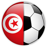 Tunisia Flag with Soccer Ball Background