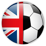 UK Flag with Soccer Ball Background