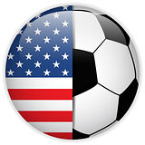 USA Flag with Soccer Ball Background