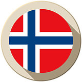 Norway Flag Button Icon Modern