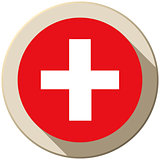 Switzerland Flag Button Icon Modern