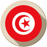 Tunisia Flag Button Icon Modern