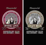 set of menu templates for wine and beer