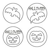 Vector hand drawn Halloween sign set with pumpkin and bat