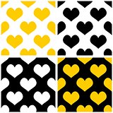 Tile vector yellow, black and white background set with hearts.