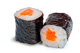 two roll with salmon on white background