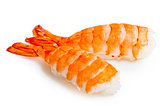 Two sushi shrimp and rice on a white background