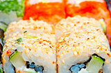 macro sushi with different fillings