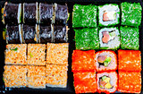 set of different tasty sushi with different fillings