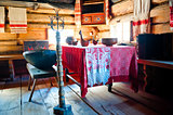 Russian old-fashioned traditional interior hut