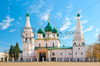 Beautiful Orthodox church in Yaroslavl on the square