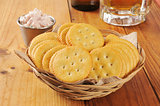 Crackers with deviled ham