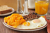Cheese hash browns with sausage and eggs