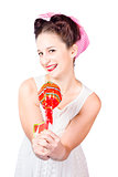 Sweet lolly shop lady offering over red lollipop