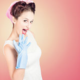 Shocked pin-up cleaner girl with funny expression