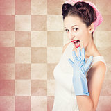 Vintage surprised pinup woman doing housework