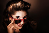 Dark summer fashion. pin up woman in sunglasses