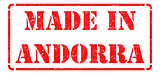 Made in Andorra - inscription on Red Rubber Stamp.