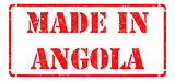 Made in Angola - inscription on Red Rubber Stamp.