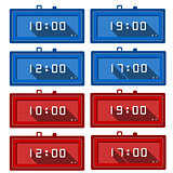 Vector icons for digital clocks