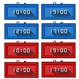 Vector icons for digital clocks