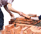 Workers laid red bricks