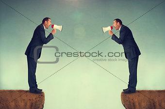 businessmen shouting