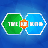 time for action in hexagons, flat design