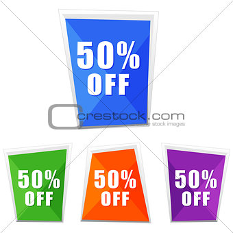 50 percentages off, four colors labels