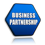 business partnership on blue hexagon banner