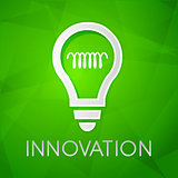 innovation and light bulb sign over green background, flat desig