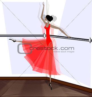exercising of ballet dancer in red
