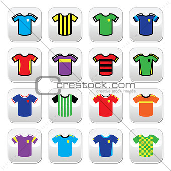 Football or soccer jerseys colorful buttons set