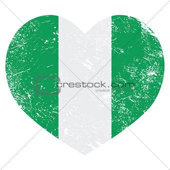 Nigeria retro heart shaped flag