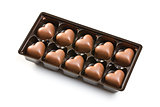 chocolate hearts in a box